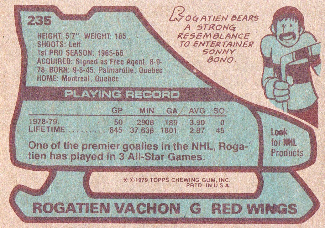 1979-80 Topps #235 Rogatien Vachon back image