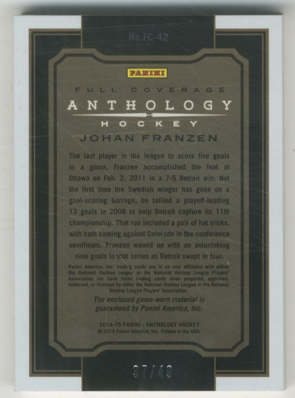 2015-16 Panini Anthology Full Coverage Jerseys Prime #42 Johan Franzen/49 back image
