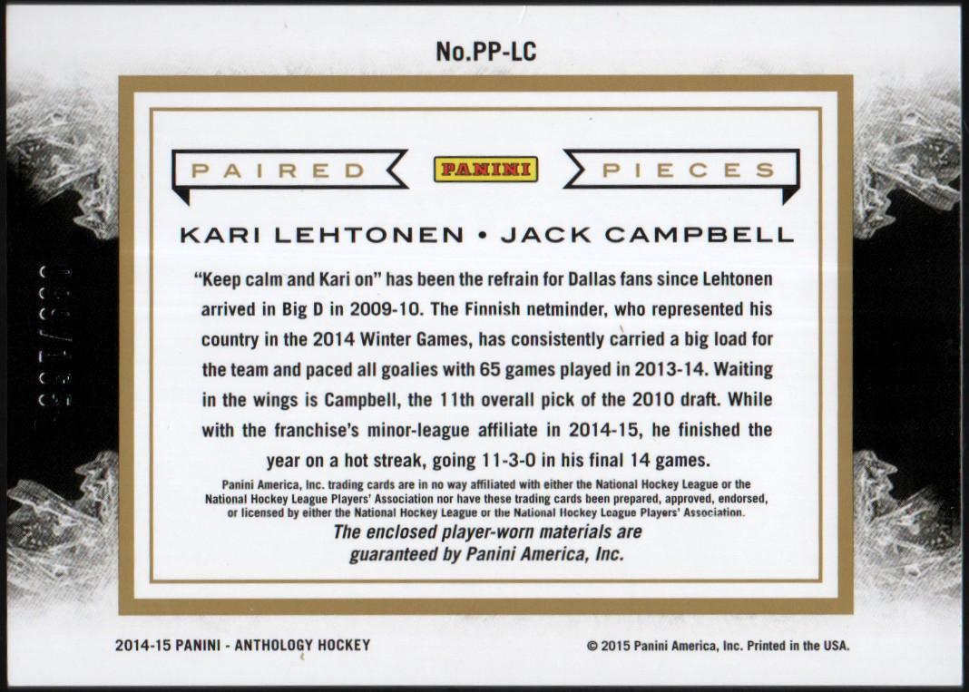 2015-16 Panini Anthology Paired Pieces #45 Kari Lehtonen/Jack Campbell/165 back image