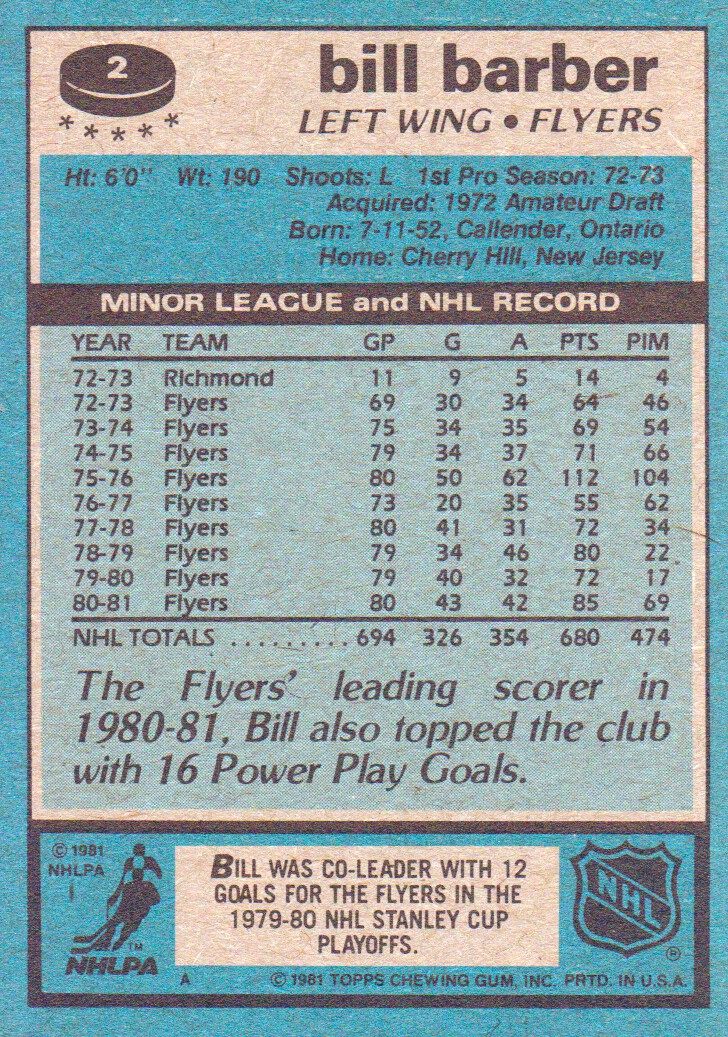 1981-82 Topps #2 Bill Barber back image