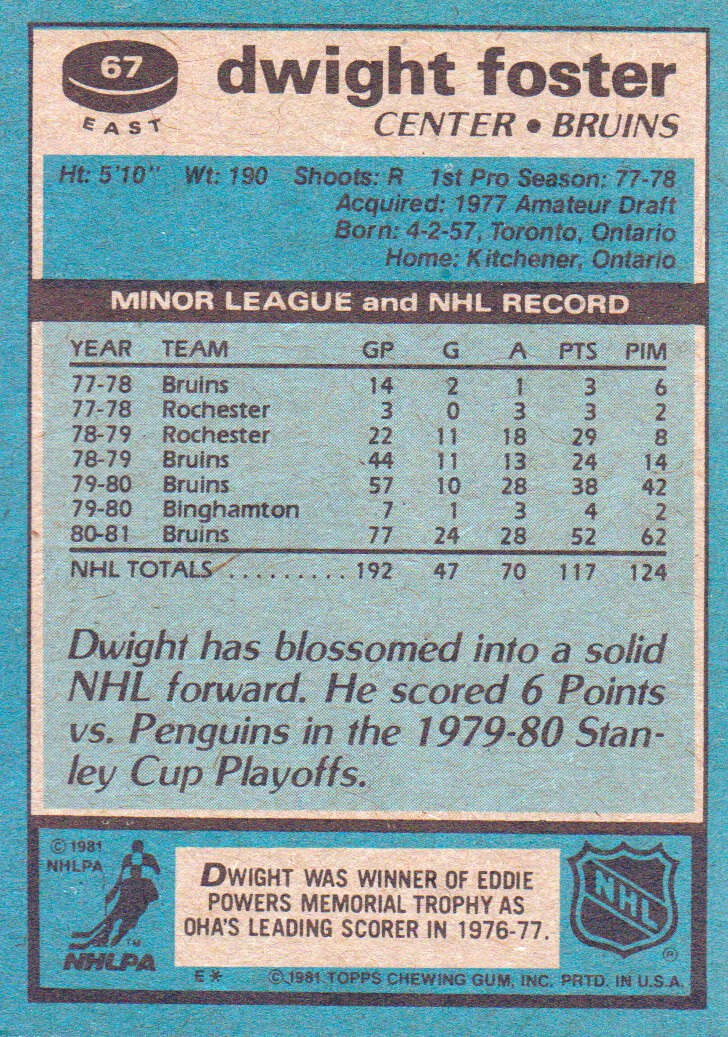 1981-82 Topps #E67 Dwight Foster back image