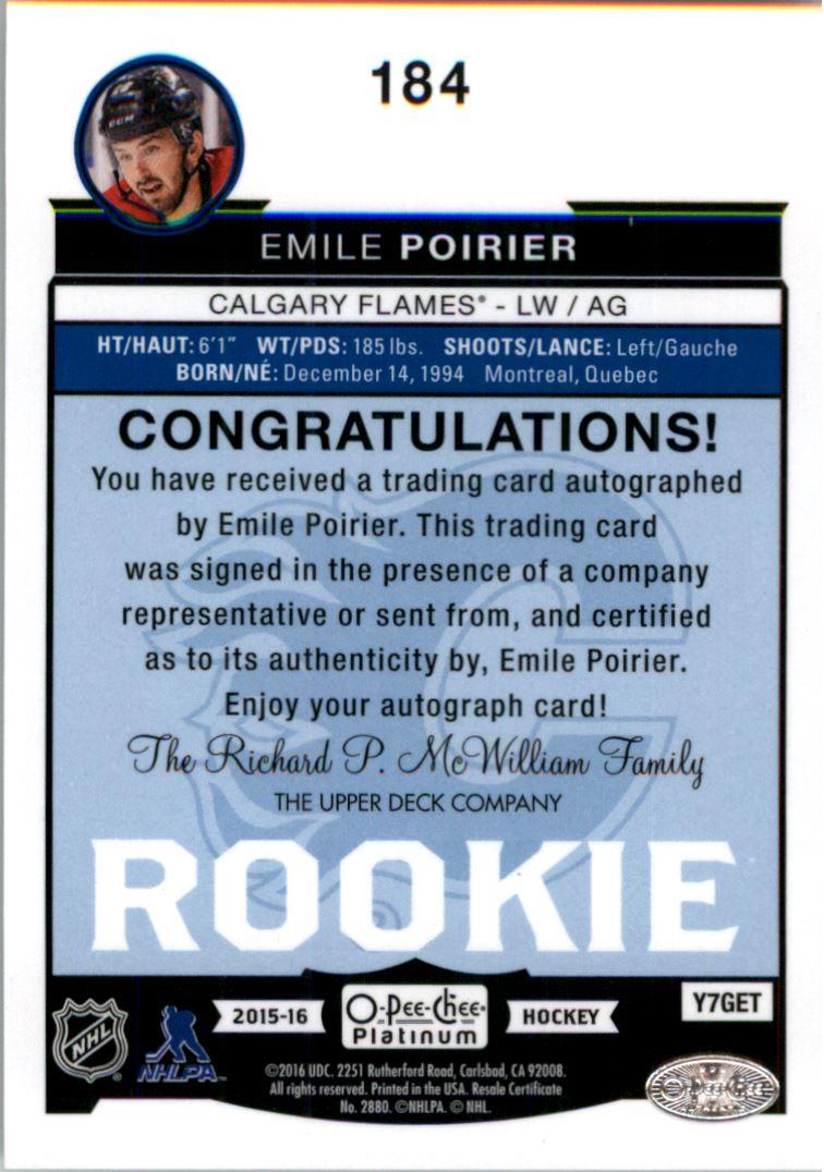 2015-16 O-Pee-Chee Platinum #184 Emile Poirier F AU RC back image