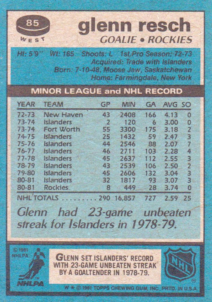 1981-82 Topps #W85 Glenn Resch back image