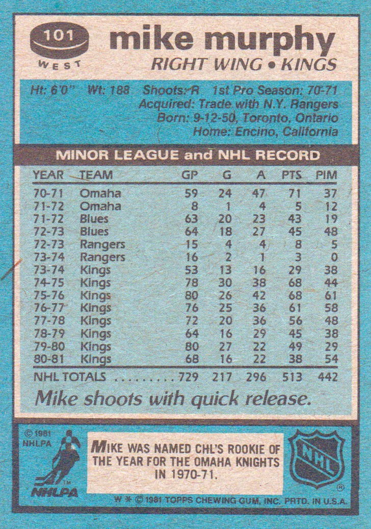 1981-82 Topps #W101 Mike Murphy back image