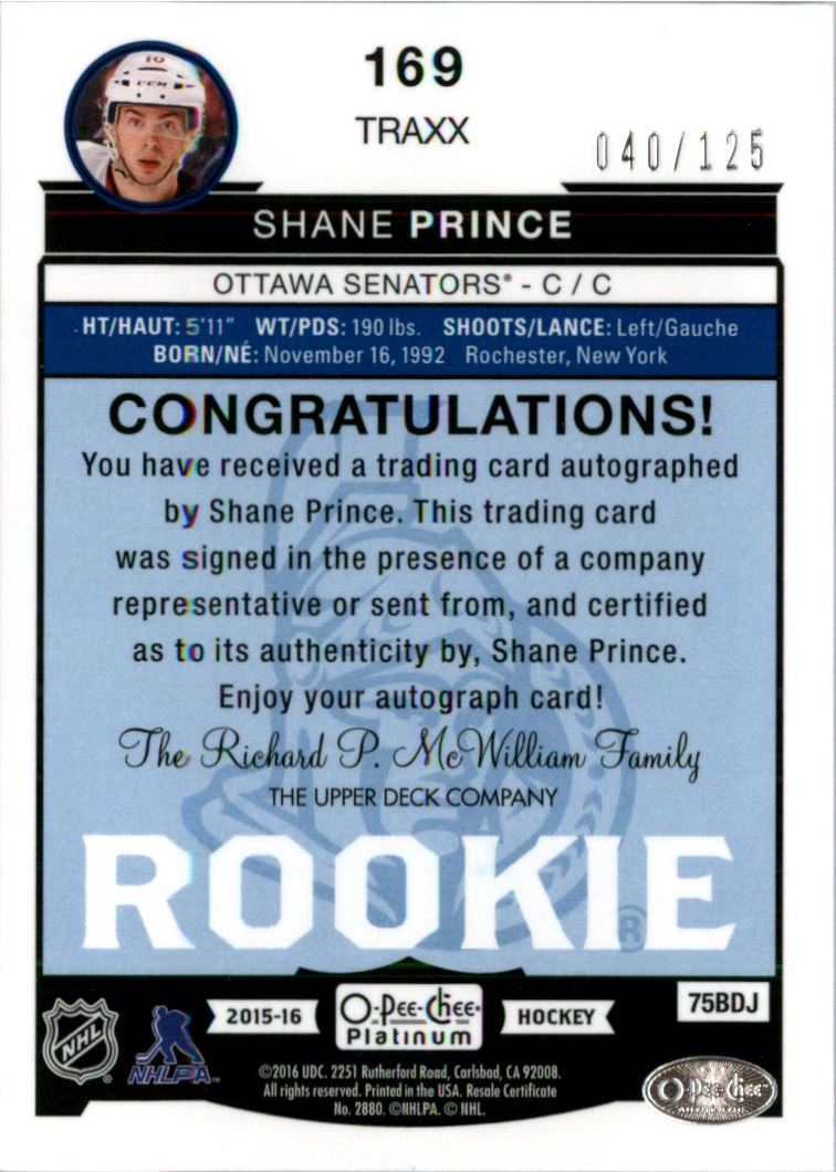 2015-16 O-Pee-Chee Platinum Traxx #169 Shane Prince AU back image