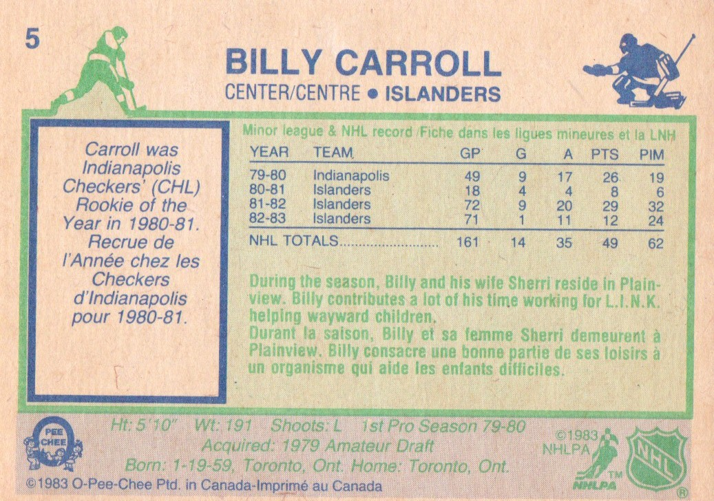 1983-84 O-Pee-Chee #5 Billy Carroll RC back image