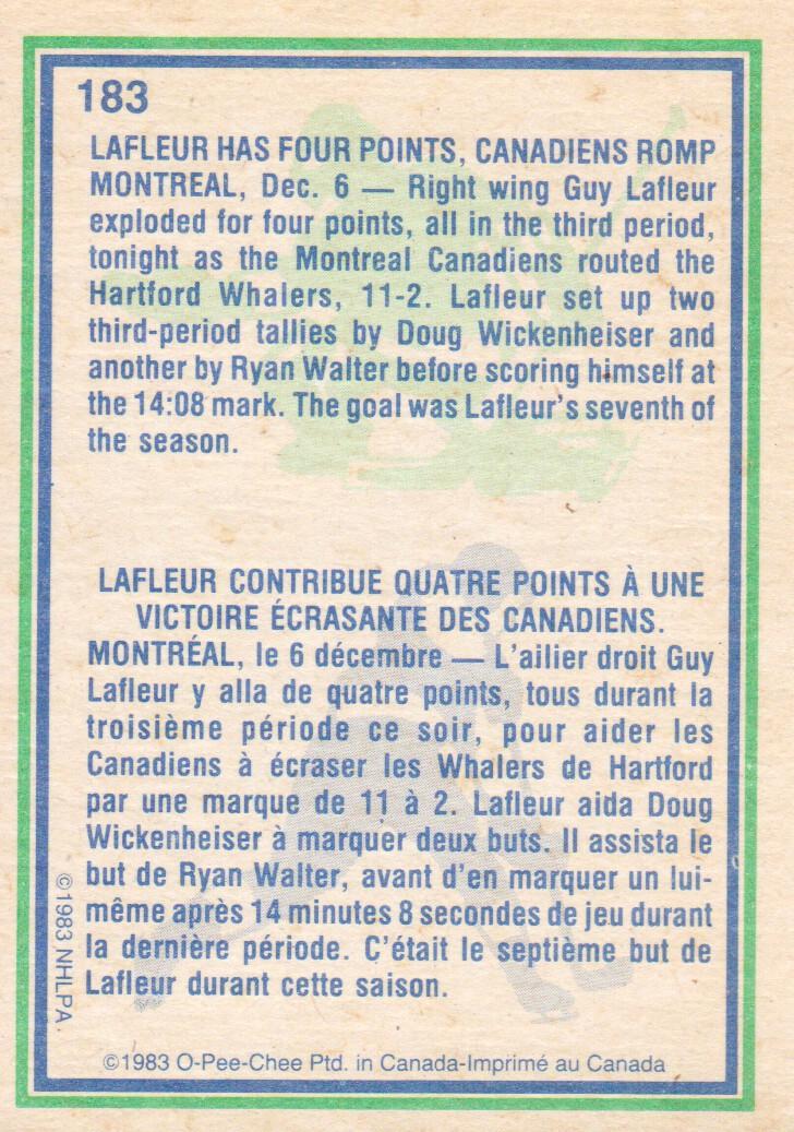 1983-84 O-Pee-Chee #183 Guy Lafleur HL back image