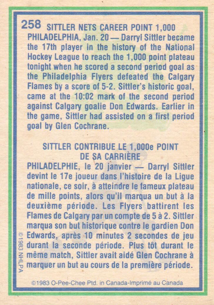1983-84 O-Pee-Chee #258 Darryl Sittler HL back image