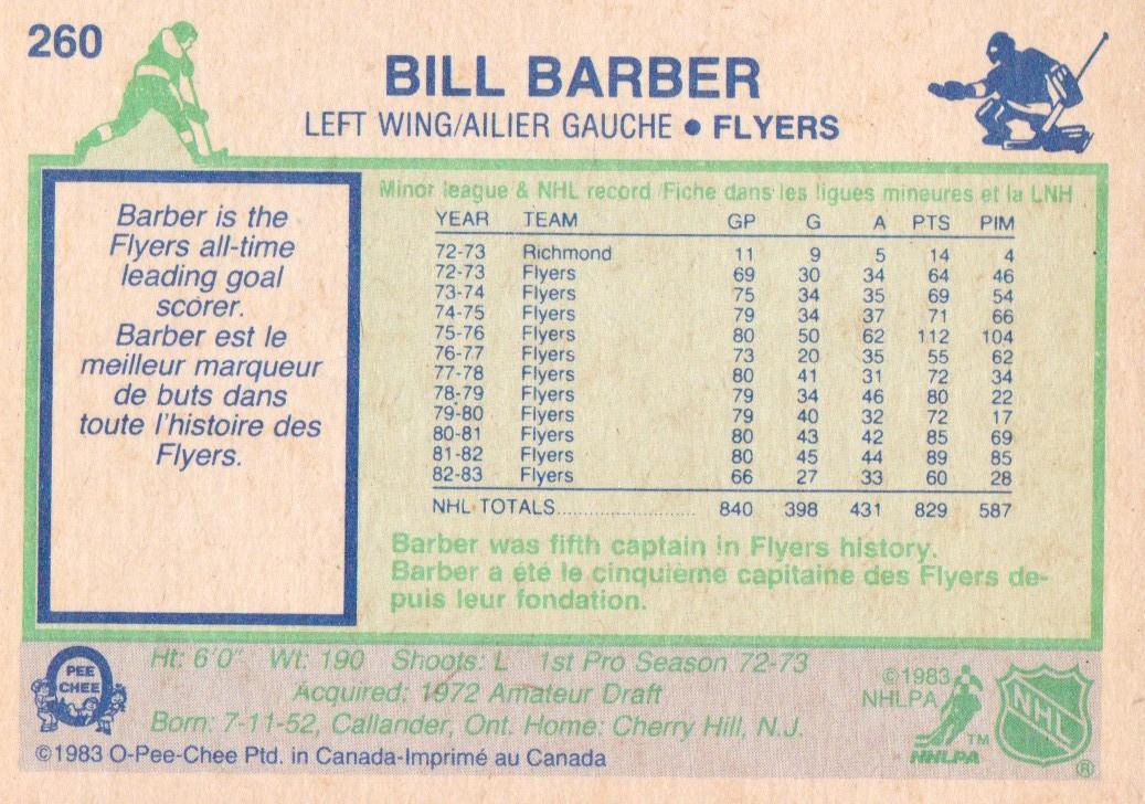 1983-84 O-Pee-Chee #260 Bill Barber back image