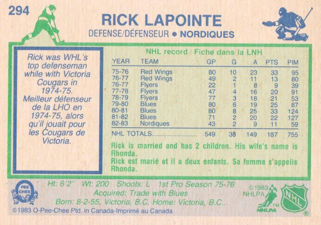 1983-84 O-Pee-Chee #294 Rick Lapointe back image