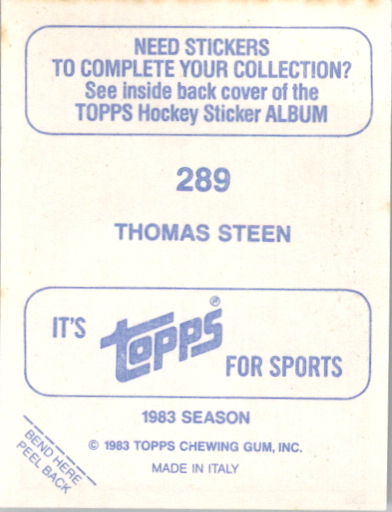 1983-84 Topps Stickers #289 Thomas Steen back image