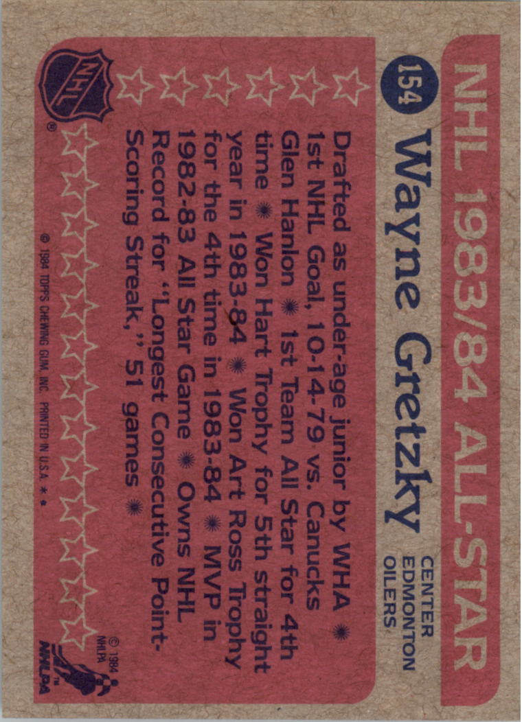 1984-85 Topps #154 Wayne Gretzky AS back image