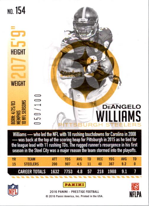 #154 DeAngelo Williams 2016 Panini Prestige Football Walker