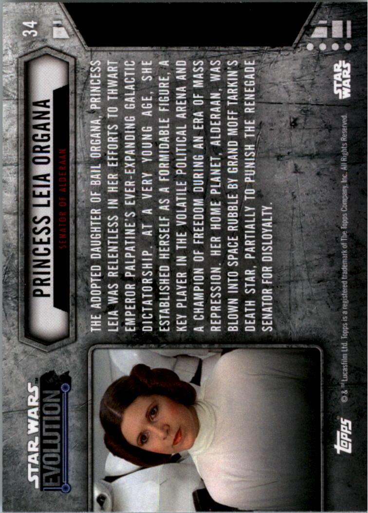 2016 Star Wars Evolution Lightsaber Blue #34 Princess Leia Organa/Senator of Alderaan back image