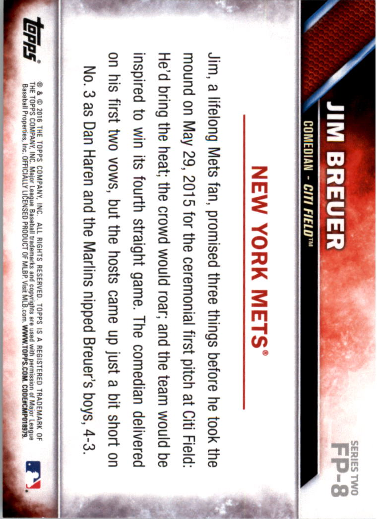 2016 Topps First Pitch #FP8 Jim Breuer S2 back image