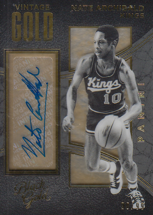 2015-16 Panini Black Gold Vintage Gold Autographs #19 Nate Archibald/99