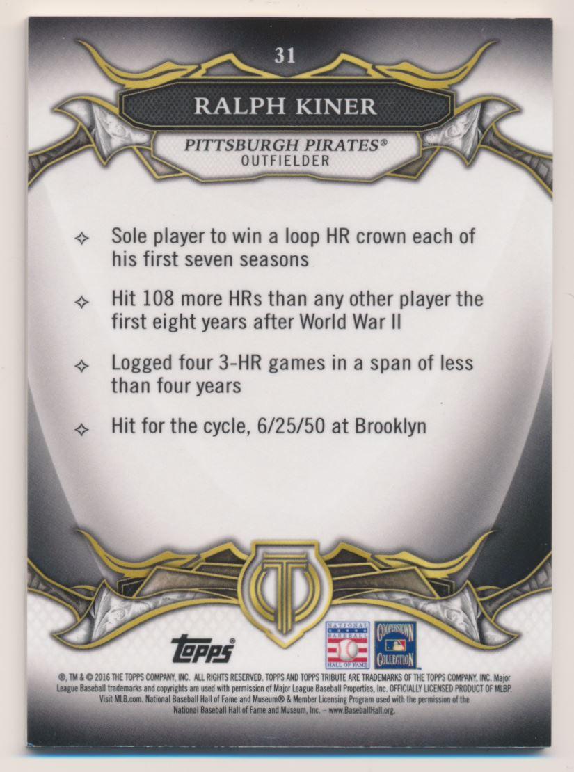 2016 Topps Tribute Purple #31 Ralph Kiner back image
