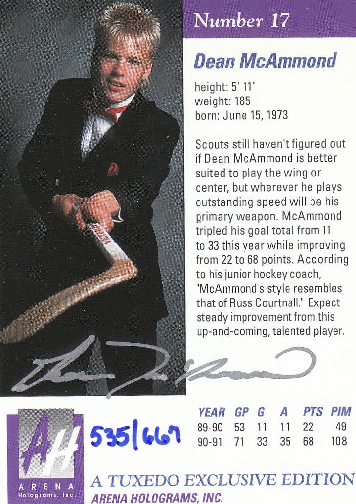 1991 Arena Draft Picks Autographs #17 Dean McAmmond back image