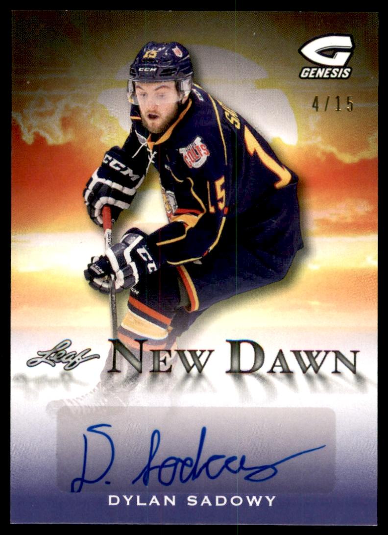 2015-16 Leaf Genesis New Dawn Autographs Purple #NDDS2 Dylan Sadowy/15