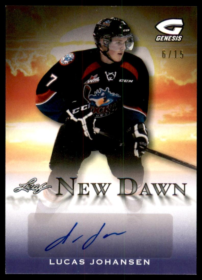 2015-16 Leaf Genesis New Dawn Autographs Purple #NDLJ1 Lucas Johansen/15