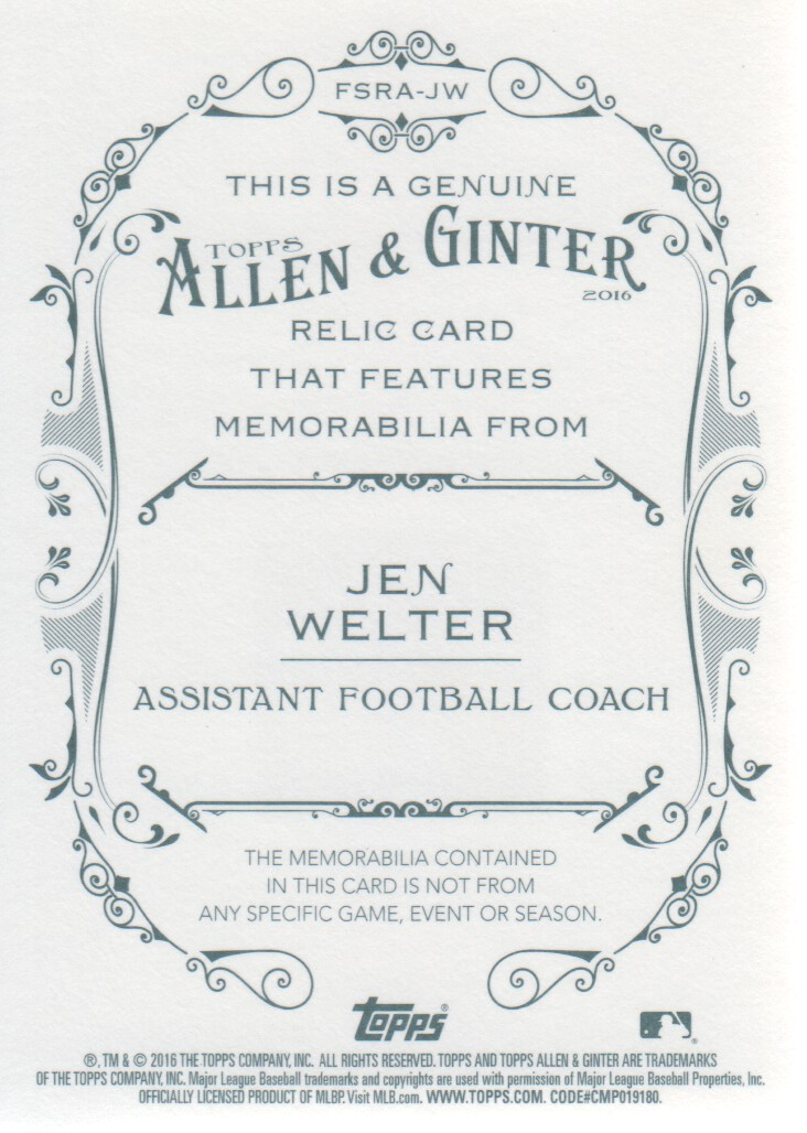 2016 Topps Allen and Ginter Relics #FSRAJW Jen Welter A back image