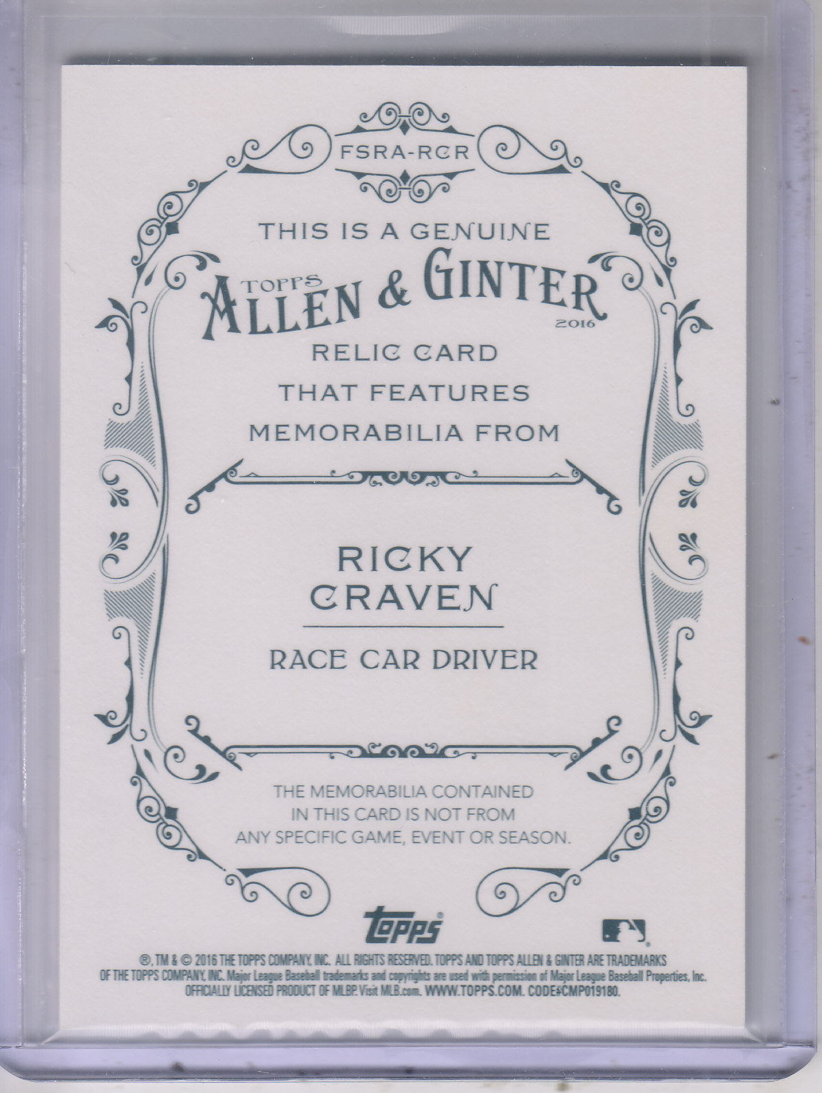 2016 Topps Allen and Ginter Relics #FSRARCR Ricky Craven A back image