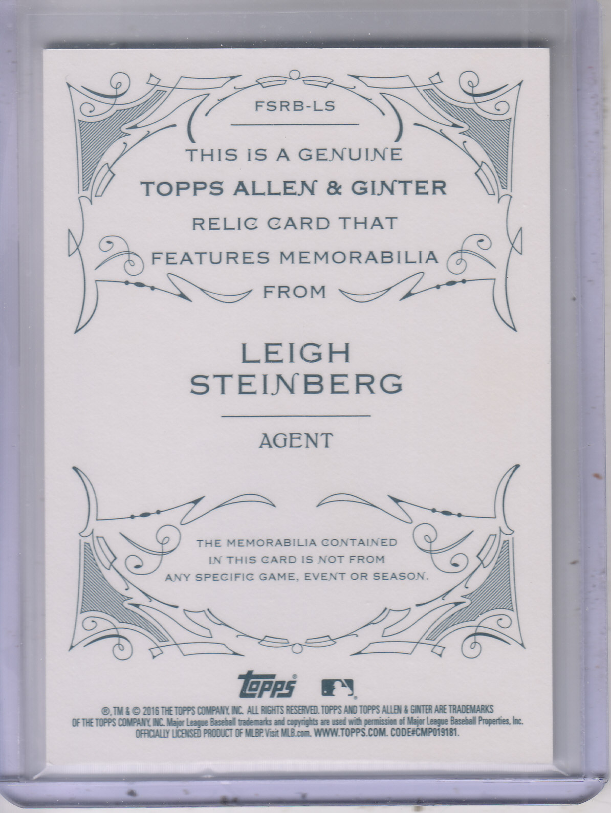 2016 Topps Allen and Ginter Relics #FSRBLS Leigh Steinberg B back image