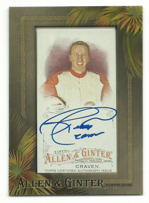 2016 Topps Allen and Ginter Framed Mini Autographs #AGARC Ricky Craven