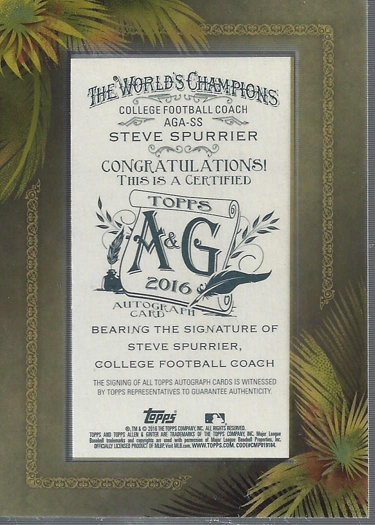 2016 Topps Allen and Ginter Framed Mini Autographs #AGASS Steve Spurrier back image