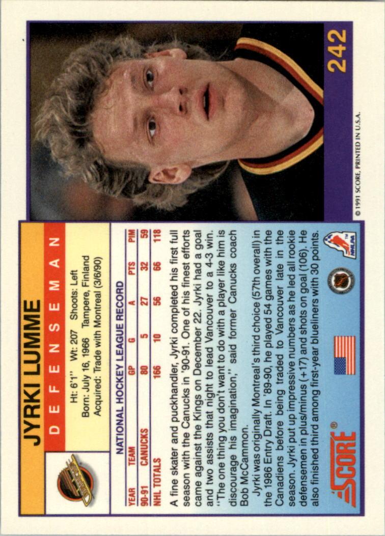 1991-92 Score American #242 Jyrki Lumme back image