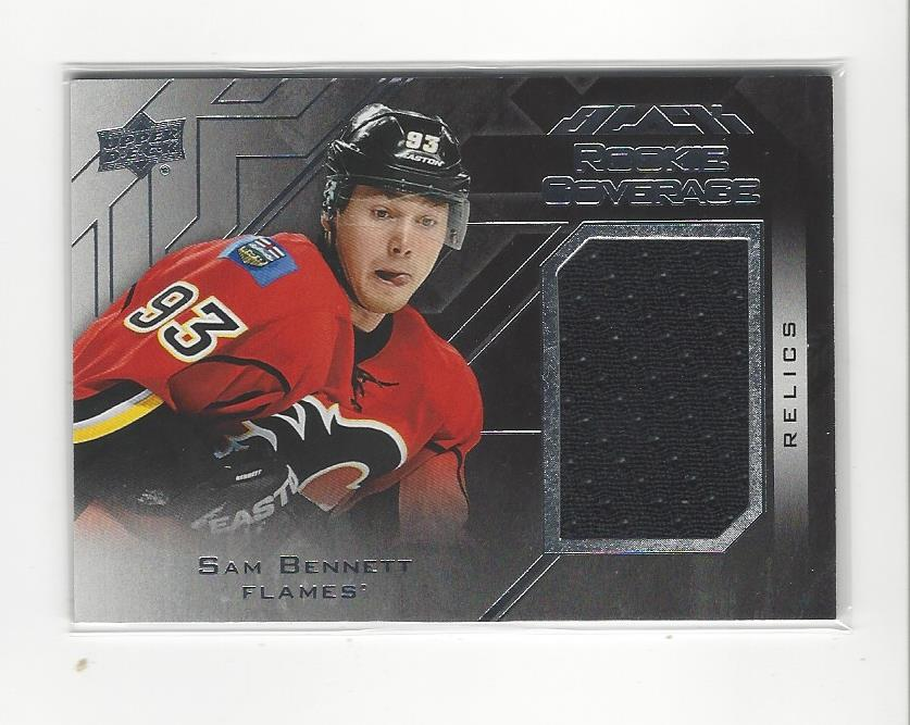 reputable site b41ea f8dac Details about 2015-16 UD Black Rookie Coverage Sam Bennett JERSEY Flames