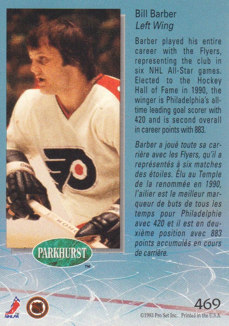 1992-93 Parkhurst #469 Bill Barber back image