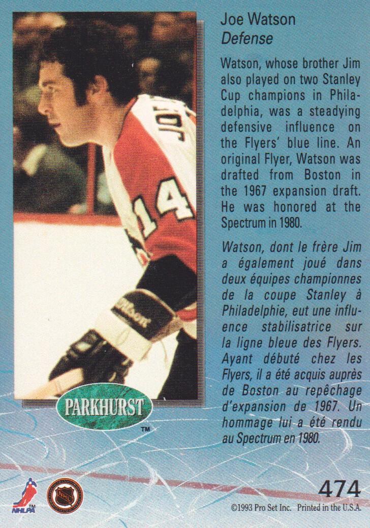 1992-93 Parkhurst #474 Joe Watson back image