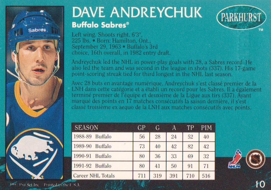 1992-93 Parkhurst Emerald Ice #10 Dave Andreychuk back image