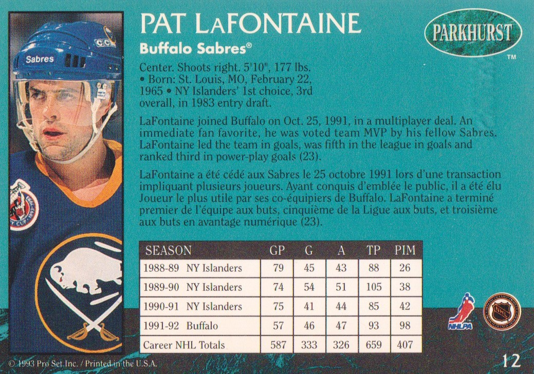 1992-93 Parkhurst Emerald Ice #12 Pat LaFontaine back image