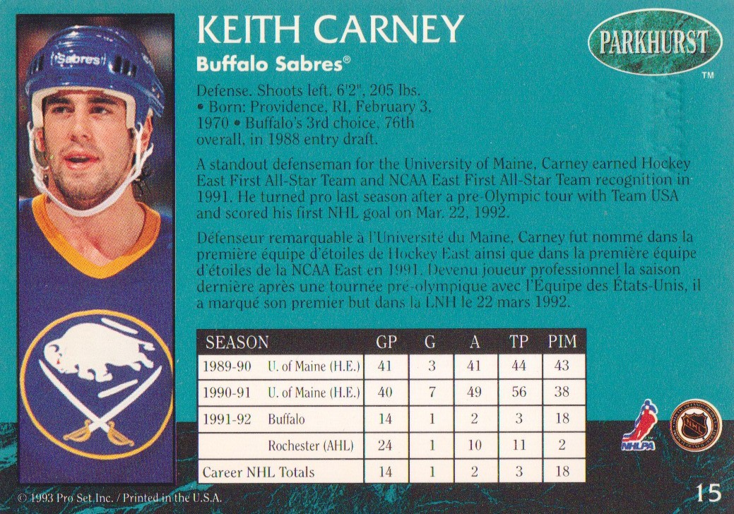 1992-93 Parkhurst Emerald Ice #15 Keith Carney back image