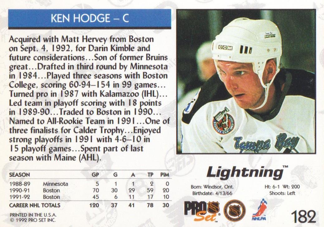 1992-93 Pro Set #182 Ken Hodge Jr. back image
