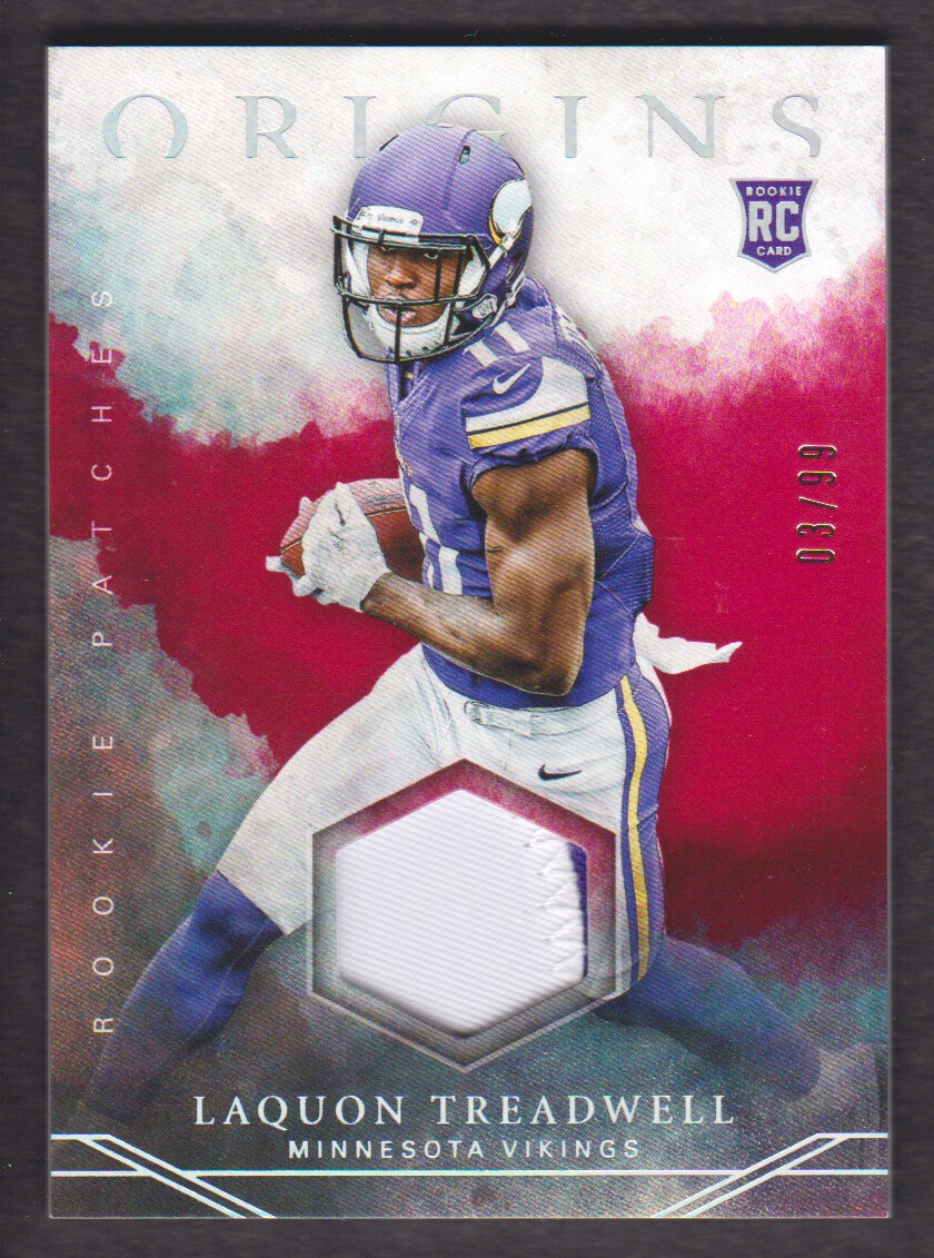 buy online 200a9 56749 Details about 2016 Panini Origins Rookie Patch Red #8 Laquon Treadwell  Jersey 03/99 Vikings