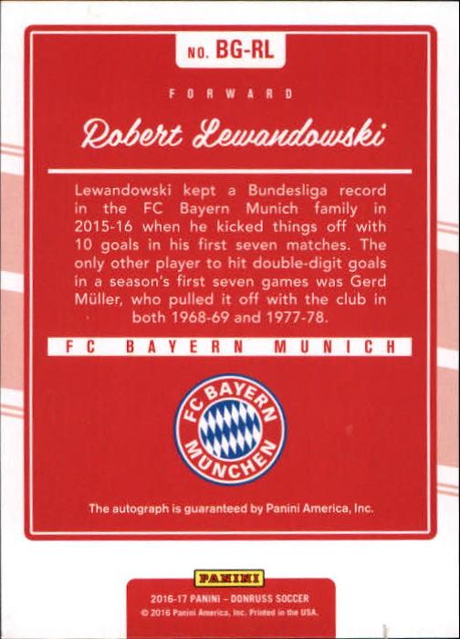 2016 Donruss The Beautiful Game Autographs #20 Robert Lewandowski back image