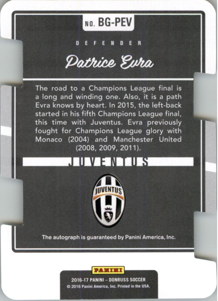 2016 Donruss The Beautiful Game Autographs Press Proof Die-Cut #56 Patrice Evra/49 back image