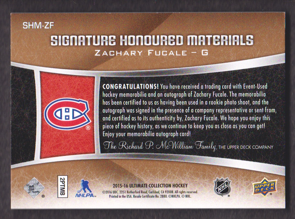 2015-16 Ultimate Collection Signature Honoured Materials #SHMZF Zachary Fucale/85 back image