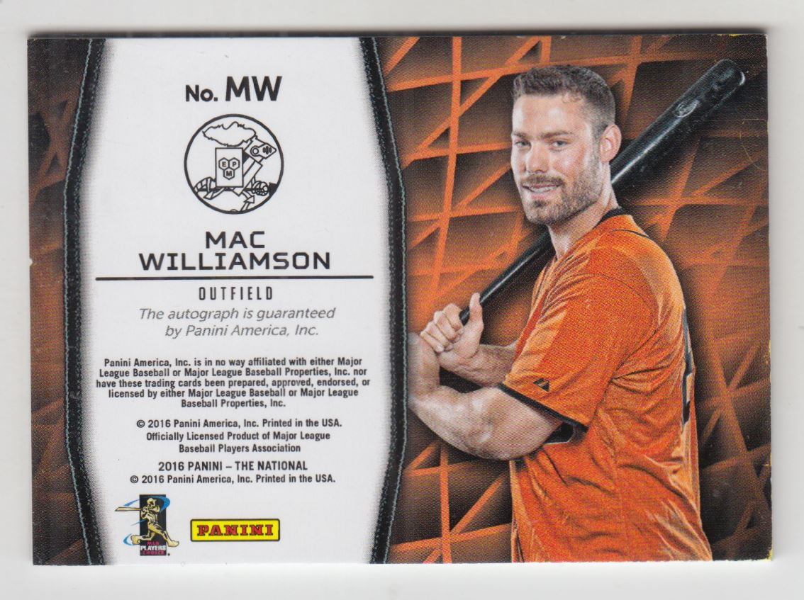 2016 Panini National Convention Manufactured Patch Autographs #MW Mac Williamson back image