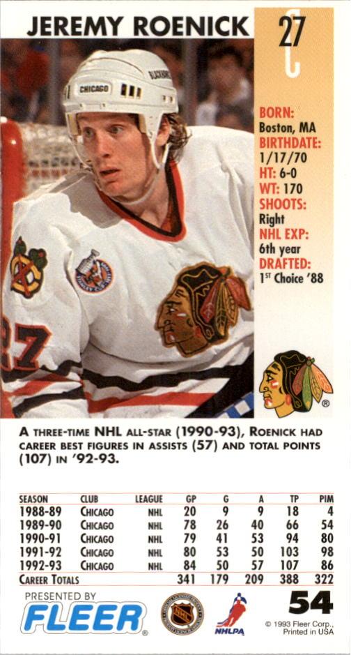 1993-94 PowerPlay Chicago Blackhawks Hockey Card  54 Jeremy Roenick. Front.  Back 10e69d087