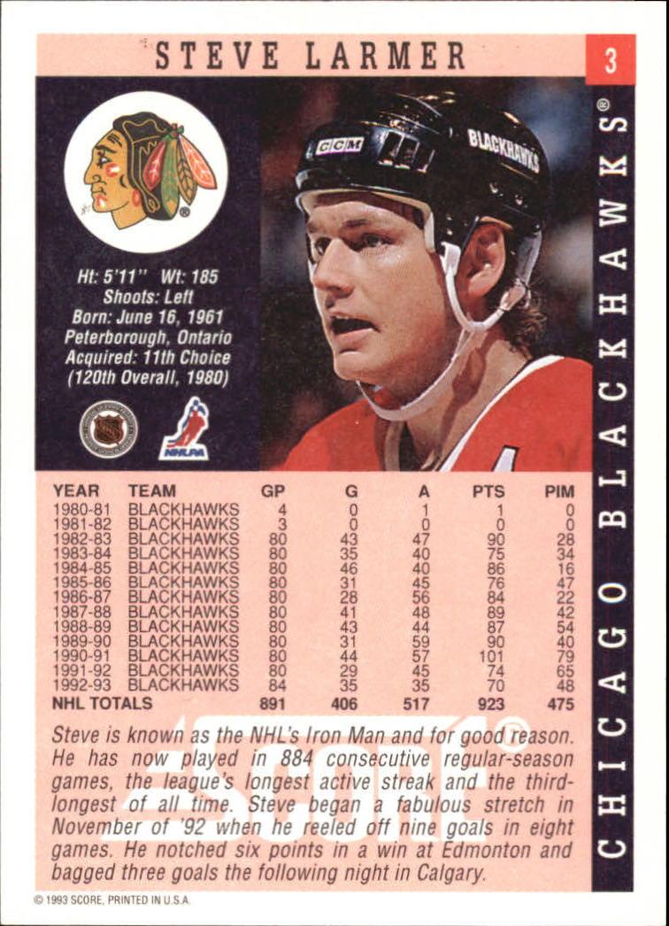1993-94 Score #3 Steve Larmer back image