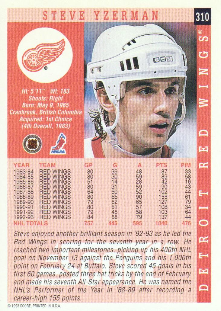 1993-94 Score #310 Steve Yzerman back image