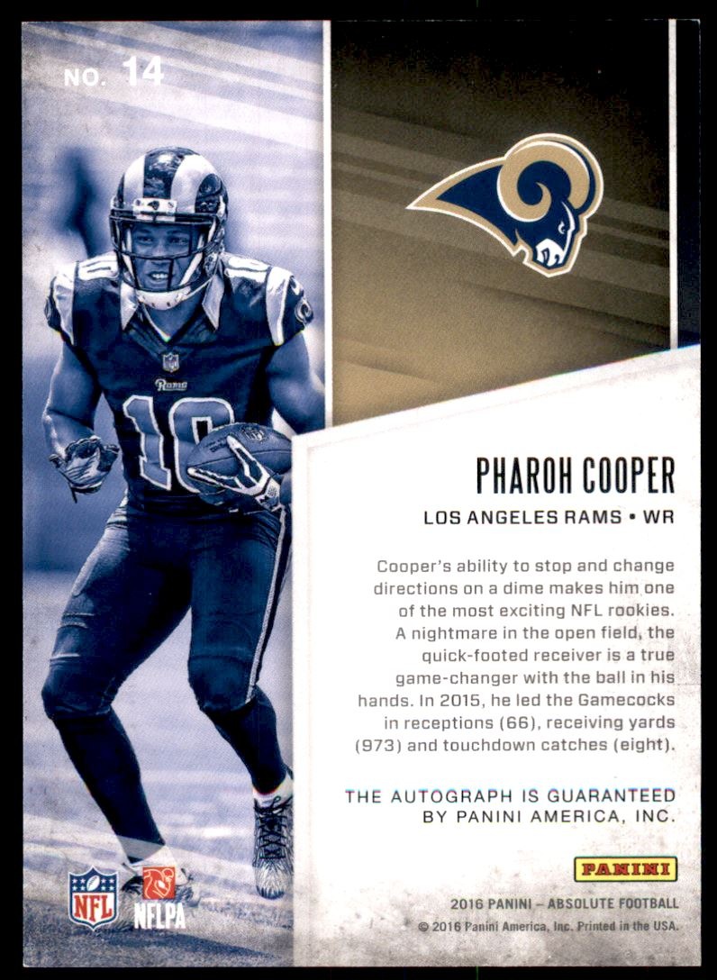 2016 Absolute Absolutely Ink #14 Pharoh Cooper/99 back image