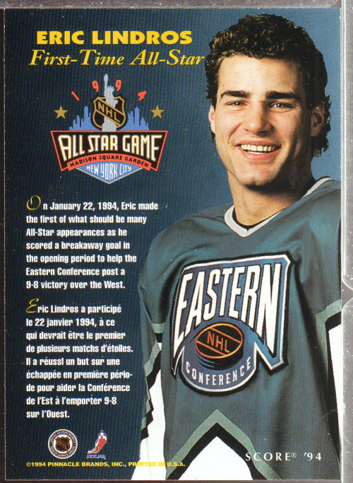 1993-94 Score #NNO Eric Lindros AS SP back image