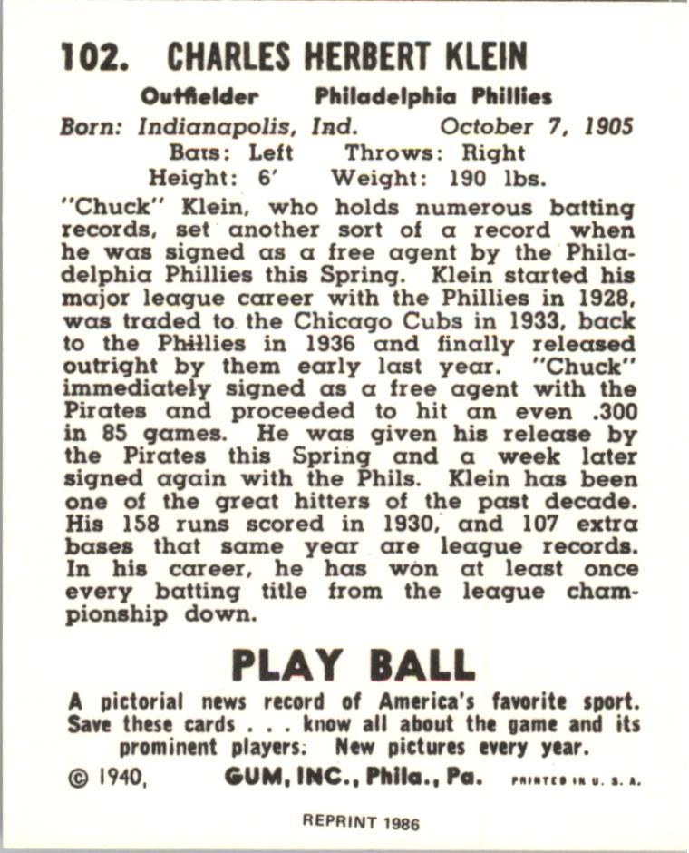 1940 Play Ball Reprints #102 Chuck Klein back image