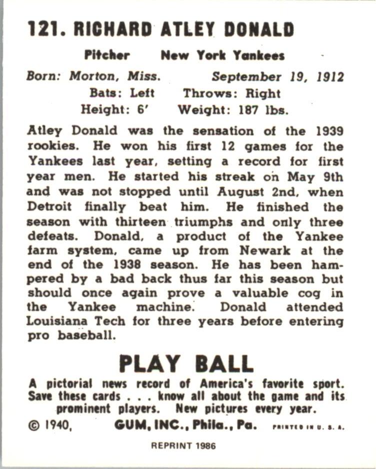 1940 Play Ball Reprints #121 Atley Donald back image