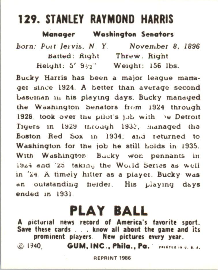 1940 Play Ball Reprints #129 Bucky Harris MG back image
